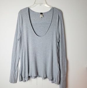 Free People Gray Thermal Shirts Size L